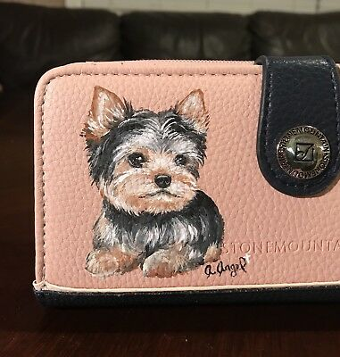 Hand Painted Art Yorkshire Terrier YORKIE dog  Leather Blush & Navy Wallet
