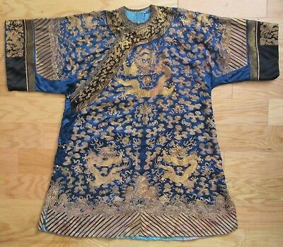 ANTIQUE Qing Dynasty Chinese IMPERIAL Manchurian 5 Claw GOLD DRAGON Silk Robe