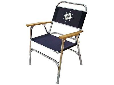 Anodized Aluminum Folding Navy Blue Deck Chair for Boats - Five Oceans (BC 3719)