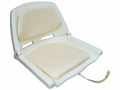 Fold Down Deluxe Marine White Seat for Boat with Cushions - Fishing- Five Oceans