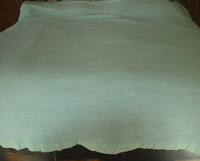 """Vintage ACRYLIC WAFFLE WEAVE THERMAL BLANKET - MINT GREEN - 84"""" x 108"""""""