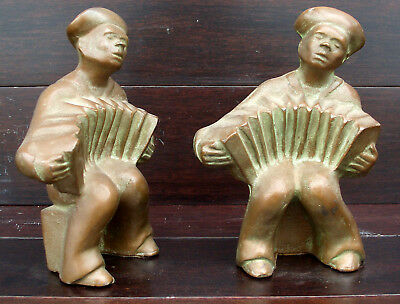 Antique Vintage Bronzed Cast Iron Sailor with Accordion Bookends Hubley Made USA