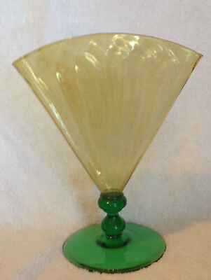 "11"" TALL Carder Steuben Art Glass Ribbed Top & Footed Base Fan Vase"