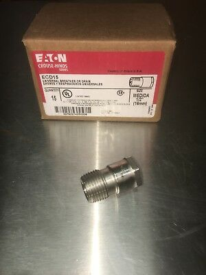 "Eaton Crouse-Hinds ECD15 Universal Breather - Drain 1/2"" 1 PC. Many Available!"