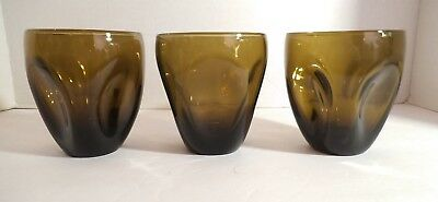 3 MCM Russel Wright Amber Brown Pinch Tumblers Oneida 3 7/8""