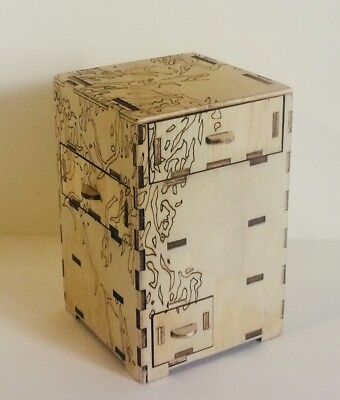 Wooden engraved miniture drawer tower for jewelery, trinkets and teas