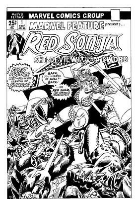 **original Art** First Red Sonja, Marvel Feature # 1 Cover Recreation ***