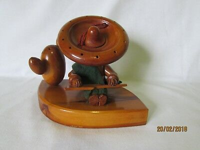 Vintage Retro Wooden Sleeping Mexican ToothPick Holder