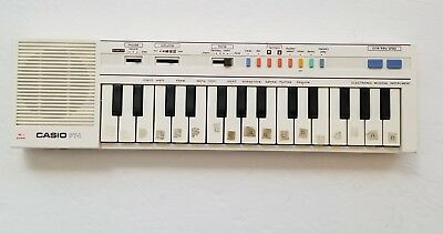 Vintage Casio PT-1 Compact Electronic Keyboard Synthesizer White Synth Working
