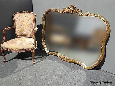 French Provincial Rococo Louis XVI Style Ornate Gold Wall Mantle MIRROR