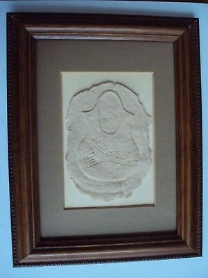 Authentic Native American Hand Cast Embossed Paper Art Picture Framed Signed