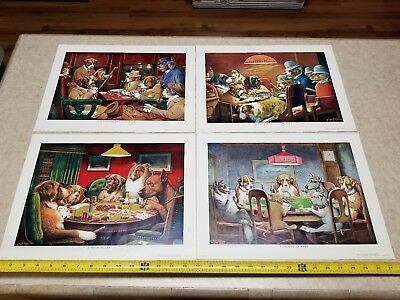 """Cabin Still Advertising~dogs playing cards, Lot of (4)~16""""x12"""", see pictures"""