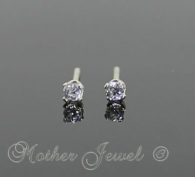 Mini 2mm REAL SOLID 925 STERLING SILVER Simulated Diamond Earrings Unisex Studs