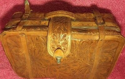 #Engraved Victorian custom cut IC Genuin leather Massive Travel luggage Suitcase