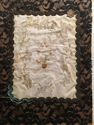 #Magnificen19th c Silk hand embroidery Religious art deco antique Extremely Rare