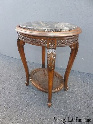 Vintage French Provincial Style Carved Wood Two Tier Marble Top Side Table