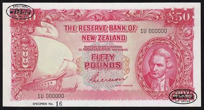 NEW ZEALAND £50 ND (1955) sig Wilson opt oval Da La Rue SPECIMEN.  UNC. RARE.