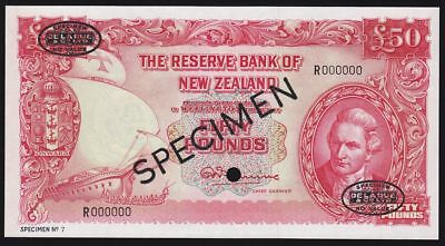 NEW ZEALAND £50 ND (1956) sig Fleming opt SPECIMEN. UNC. RARE.