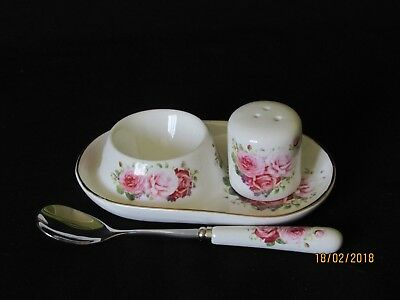 Beautiful Porcelain Egg Cup, Salt Shaker and Spoon Set