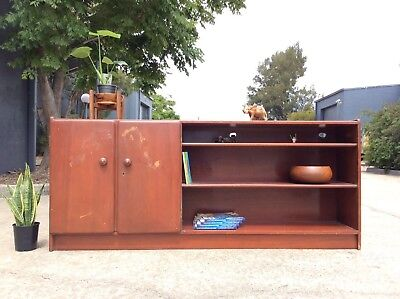 *RARE* Shallow SIDEBOARD Mid Century MYER'S Retro BOOK SHELF HALL TABLE Project