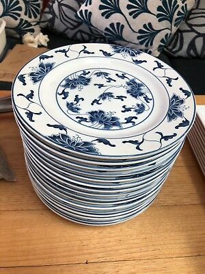 17 x small blue patterned decorative plates