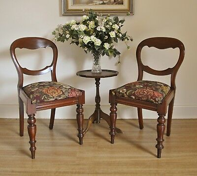 Pair Antique Victorian Cedar Balloon Back Turned Leg Hall Bedroom Feature Chairs