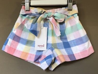 Seed Heritage Little Girls Madras Shorts Size 5  Years RRP$39.95