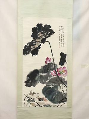Beautiful Chinese Paper Ink Painting Lotus Leaf Flower Animal Duck Scroll