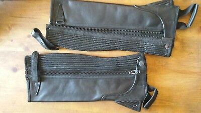 black leather half chaps Childs large