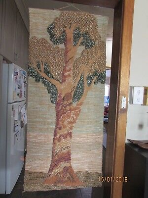 Vintage Retro Handcrafted Woven Tree Wall Hanging