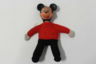 Vintage Mickey Mouse Soft Toy With Plastic Head B8