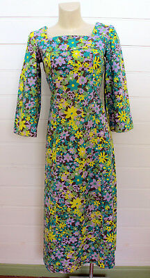 VINTAGE 1960s 60s COTTON FLORAL MAXI LONG DRESS WITH BELL SLEEVES