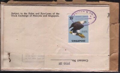 Malaya Singapore $5 bird stamp revenue fiscal used doc