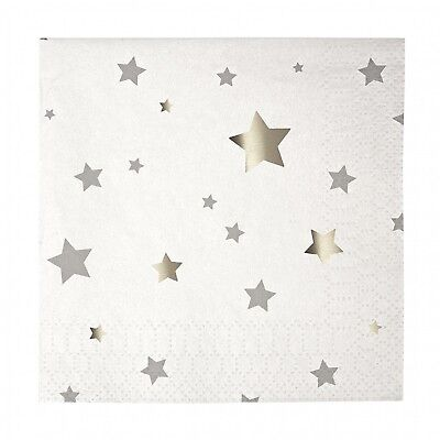 Meri Meri Toot Sweet Silver Stars Small Party Napkins. Delivery is Free