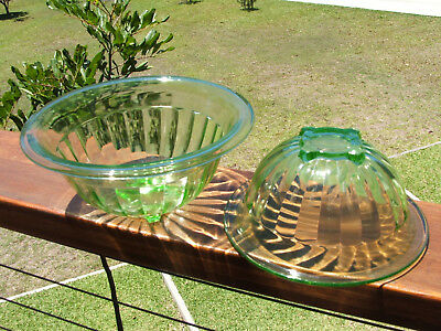 Two Green Deperession Glass Bowls - Matching -  Deco Style - Uranium Glass -