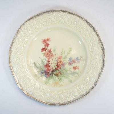 """Antique 8"""" Crown Ducal Florentine """"Picardy"""" Floral Plate with 18K Gold Border"""