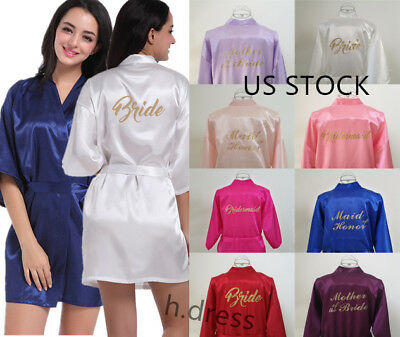 US STOCK Satin Personalized Wedding Robe Bridesmaid Bride Dressing Sleepwear