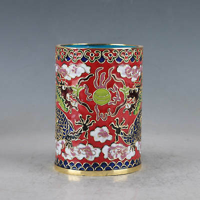Chinese  Cloisonne Hand-made Two Dragons Brush Pots JTL1041