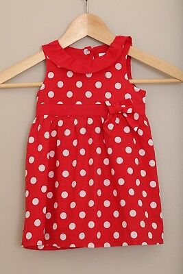 NEXT UK, Baby Girls Red & White Spot Dress, 9 - 12 Months, Excellent Condition
