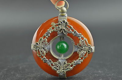China Old Collectibles Agate Armoured Delicate Butterfly Rare Noble Pendant