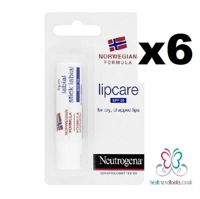 6 x Neutrogena Norwegian formula lip care SPF20 4.8g **UK STOCK**