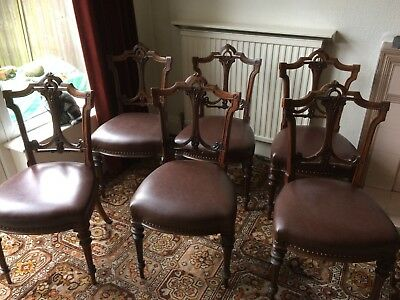 Set of 6  beautiful Victorian/Edwardian Chairs with Decorative backs