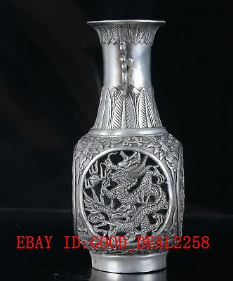 Crusted Silver Copper Hand Made Dragon & Phoenix Vase With Ming XuanDe Mark