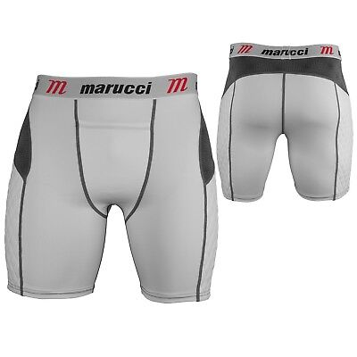 (Medium, White|Multi) - Marucci Youth Elite Padded Slider Shorts with Cup