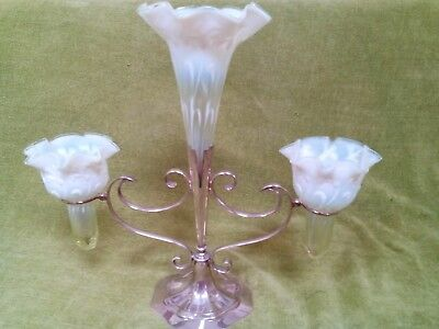 Victorian Stourbridge Vaseline Glass Epergne Vase centerpiece white metal stand