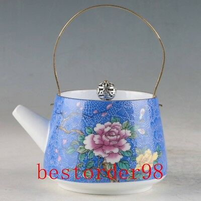 Old Chinese Exquisite Porcelain Hand Painted Flowers Teapot ZJ325 AU