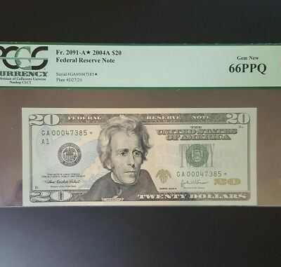 2004 A USA Star Note $20 .. PCGS Graded 66PPQ GEM New..
