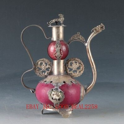 Exquisite Tibet Silver inlay Jade Hand Carved Dragon & Kwan-yin Teapots  ZJ253