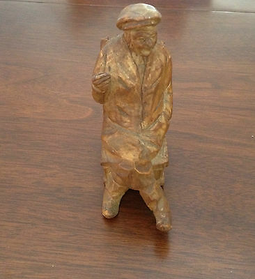 Vintage Carved Wooden Folk Art Old Man in Rocking Chair Figure