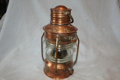 """vintage Copper Anchor ships Oil Lamp made by SEAHORSE GB 9"""" tall"""